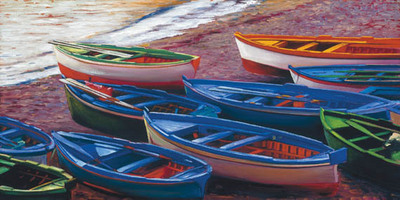 Praiano Fishing Boats- Signed By The Artist								 – Paper Giclee – Limited Edition – 230 S/N – 16 x 32