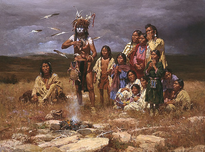 The Shaman And His Magic Feathers- Signed By The Artist								 – Canvas Giclee – Limited Edition – 85 S/N – 45 x 60