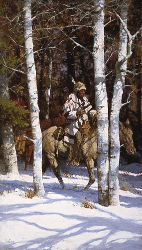 Blackfeet Among The Aspen- Signed By The Artist – PaperLithograph – Limited Edition – 1000S/N – 33 1/2x19 7/8 –
