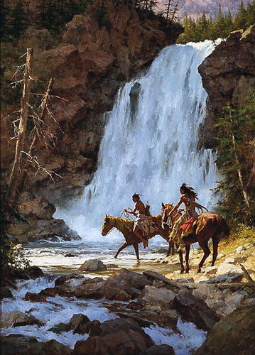 Crossing Below The Falls- Signed By The Artist								 – Paper Lithograph – Limited Edition – A/P – 31 1/2 x 21 1/2