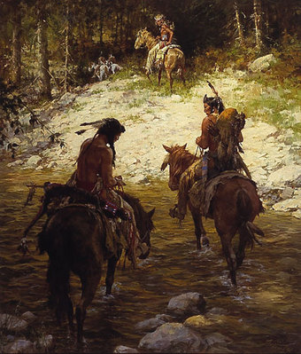 Crossing Medicine Lodge Creek- Signed By The Artist								 – Paper Lithograph – Limited Edition – 1000 S/N – 23 x 19 1/2