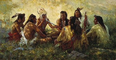 Crow Pipe Ceremony- Signed By The Artist								 – Canvas Giclee – Limited Edition – 975 S/N – 19 5/8 x 38