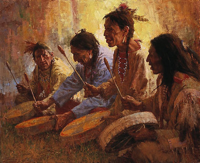 Four Sacred Drummers- Signed By The Artist – PaperLithograph – Limited Edition – 1000S/N – 24 3/4x29