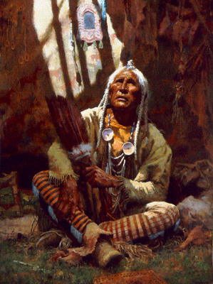 Holy Man Of The Blackfoot- Signed By The Artist – CanvasGiclee – Limited Edition – 975S/N – 32 1/2x24 1/2