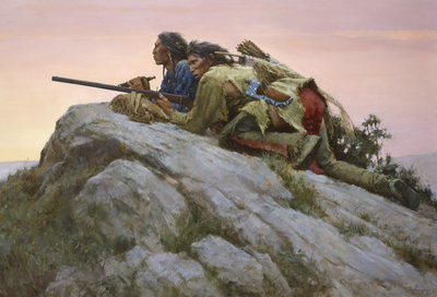 Sharpshooters Closing On The Herd- Signed By The Artist								 – Canvas Giclee – Limited Edition – A/P – 35 x 51