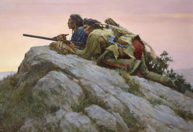 Sharpshooters Closing On The Herd- Signed By The Artist								 – Canvas Giclee – Limited Edition – 65 S/N – 35 x 51