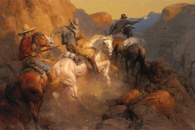 Ambush On The Bandit Trail- Signed By The Artist								 – Canvas Giclee – Limited Edition – 15 A/P – 24 x 36