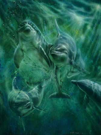 Cool Water – Dolphins- Signed By The Artist – PaperLithograph  – Limited Edition  – 76A/P  –  30x22 1/2