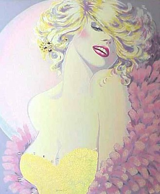 Golden Girl- Signed By The Artist – PaperMixed-Media – Limited Edition – S/N – 36 1/4x31 1/2