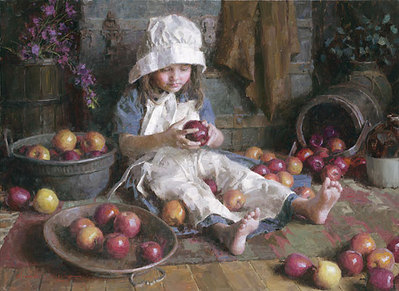Apple Girl- Signed By The Artist – CanvasGiclee  – Limited Edition  – 75S/N  –  17x23  –