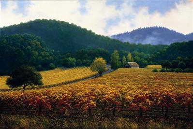 Autumn Vineyard- Signed By The Artist – CanvasGiclee  – Limited Edition  – 150S/N  –  18x27