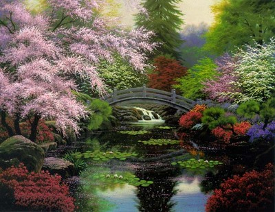 Bridge Of Tranquility- Signed By The Artist								 – Canvas Lithograph – Limited Edition – 500 S/N – 25 1/2 x 34