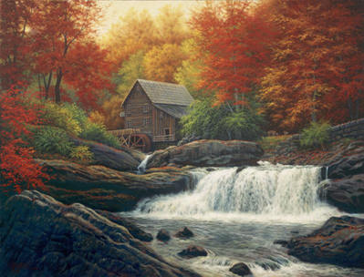 Glade Creek Grist Mill- Signed By The Artist – CanvasGiclee  – Limited Edition  – 150S/N  –  22x30