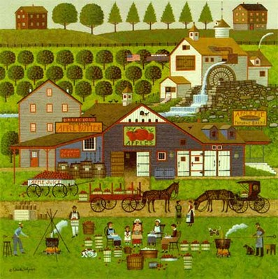 Apple Butter Makers- Signed By The Artist								 – Paper Lithograph – Limited Edition – 1000 S/N – 18 x 17 1/2
