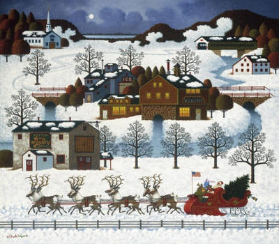 Santa's Coming To Town- Signed By Liz Wysocki – CanvasLithograph – Limited Edition – 150S/N – 15 1/2x18
