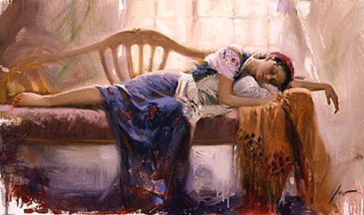 Women laying on bed asleep