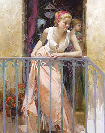 At The Balcony – Signed By The Artist – Giclee On Canvas – Limited Edition