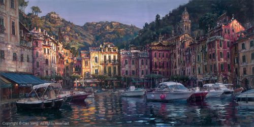 Dawn In Portofino– SIGNED BY THE ARTIST – ARCHIVAL PIGMENT INK ON CANVAS – LIMITED EDITION
