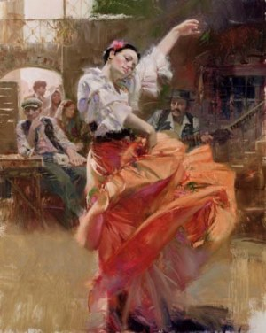 Flamenco In Red– SIGNED BY THE ARTIST – GICLEE ON CANVAS – LIMITED EDITION