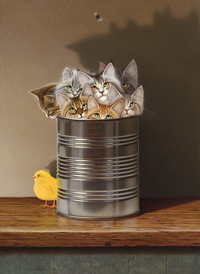 Cats In A Can- CanvasGiclee – Open Edition – Fine Art – 15x11