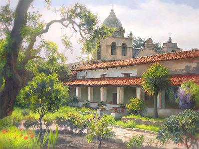 Carmel Mission Garden- CanvasGiclee  – Open Edition  – Fine Art  –  18x24