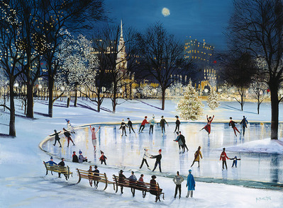 Skating At Frog Pond- CanvasGiclee  – Open Edition  – Fine Art  –  14x19