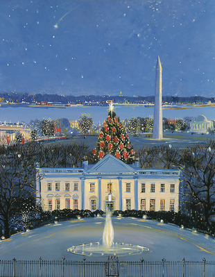 White House At Christmas- CanvasGiclee  – Open Edition  – Fine Art  –  18x14