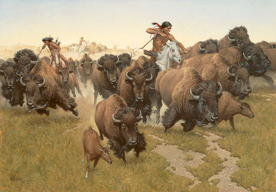 Amidst The Thundering Herd- Canvas Giclee – Limited Edition – 35 Numbered – 23 x 33